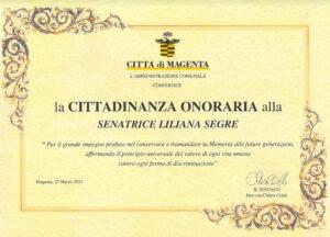 Cittadinanza onoraria a Liliana Segre, il messaggio della Senatrice per Magenta
