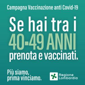 VACCINAZIONE COVID 49-40 ANNI