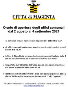 Orario di apertura degli uffici comunali dal 2 agosto al 4 settembre 2021