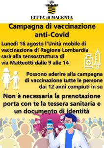 """Covid, il Sindaco Calati annuncia: """"Vaccinazioni senza prenotazione lunedì 16 agosto grazie alla presenza dell'Unità Mobile di Vaccinazione di AREU alla tensostruttura di piazza Mercato"""""""