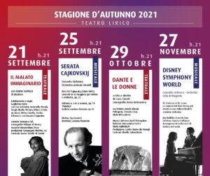 Teatro Lirico, pronto un inedito Cartellone d'Autunno: 4 straordinari eventi per la Stagione Teatrale e la Stagione Musicale 2021 tra settembre e novembre