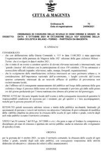 Milano-Torino 2021, ordinanza di chiusura delle scuole per il 6 ottobre