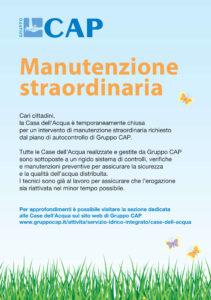 Chiusa la Casa dell'acqua di via Isonzo per un intervento di manutenzione straordinaria di Cap