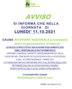 """Raccolta rifiuti, indetto sciopero nazionale per lunedì 11 ottobre. AEMME Linea Ambiente: """"Possibili disagi"""""""
